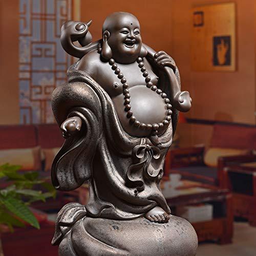Lachende Buddha-Statue Für Viel Glück,Reichtum Und Glück,Chinesische Bronze Keramik Big Bauch Standing Maitreya Figur Für Zen-Meditation,Handgefertigte Skulptur Ornamentfor Home Schreibtisch Dekor