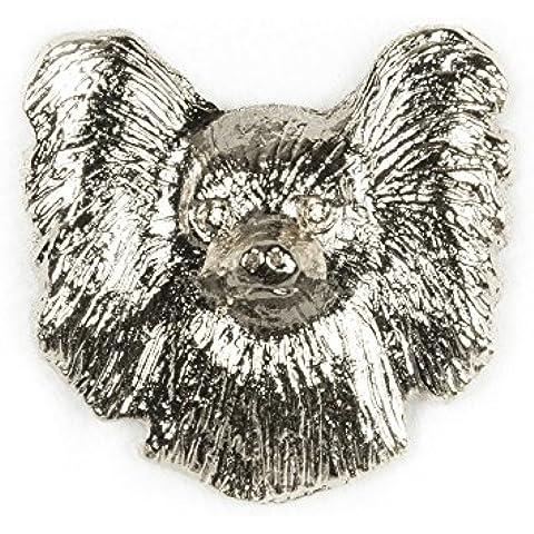 Papillon (cara) Hecho en Reino Unido Artístico Perro Pin Insignia Colección