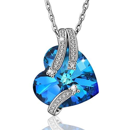 AEONSLOVE Collana da Donna con Ciondolo da Cristalli Swarovski Blu Forma di Cuore, Gioielli Regalo di Natale per la Mamma Moglie Ragazz
