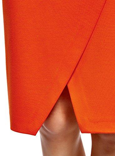oodji Ultra Damen Jerseyrock in Asymmetrischem Schnitt Rot (4500N)