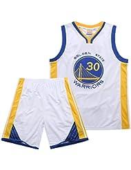 MAZO-Sport Warriors Curry 30th Jersey Suit para Adulto, Camiseta De Baloncesto Bordada, Camiseta De Baloncesto Absorbente De Sudor De Verano, Camisetas De Entrenamiento De Baloncesto Azules