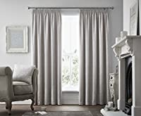 "Woven Damask Silver Grey Heavyweight Lined 66"" X 72"" - 168cm X 183cm Pencil Pleat Curtains by Curtains"