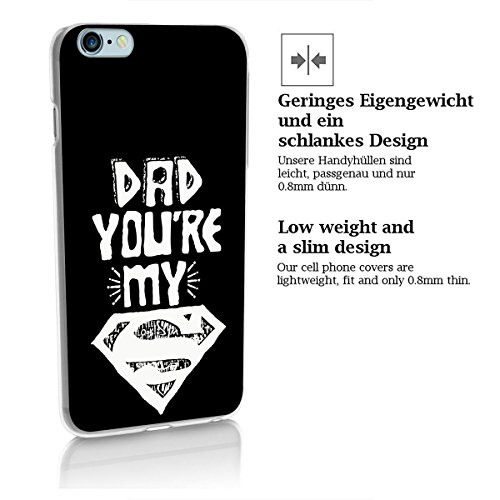 finoo | iPhone 8 Plus Handy-Tasche Schutzhülle | ultra leichte transparente Handyhülle in harter Ausführung | kratzfeste stylische Hard Schale mit Motiv Cover Case |Superman dad black Superman dad black
