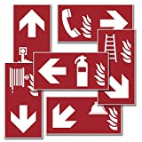 atFoliX Sicherheitszeichen Brandschutzzeichen mit Richtungsangabe - Verschiedene Ausführungen