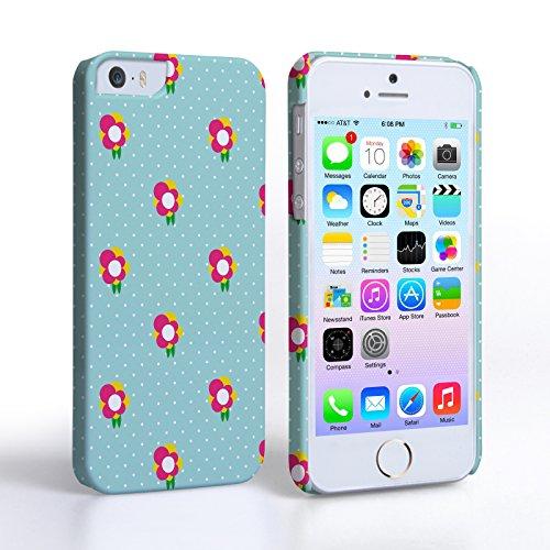 Caseflex Coque iPhone 5 / 5S Etui Vert / Rose Points Délicats Et Fleurs Dur Housse