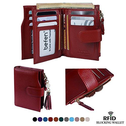 Befen Frauen RFID Blocking Wallet Full Grain Leder Damen Kleine Compact Bifold Leder Geldbörse Front Tasche Mini Wallet Kartenhalter mit 16 Card Slot - Schwarz (Full-grain-leder-tasche)