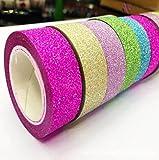 Nabati–Set di 5Rotolo Glitter bricolage nastro decorativo raso etichetta in carta di disegno di banda pezzi colore casuale per DIY Scrapbook Decorazione Lavori Manuali