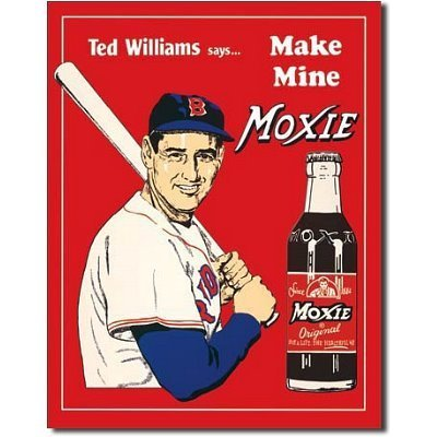 Ted Williams Make Mine Moxie Boston Red Sox Baseball Retro Vintage Tin Sign by Poster Revolution (Boston Red Sox-vintage)