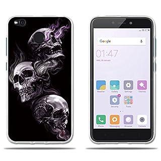 Fubaoda Funda Xiaomi Redmi 4X Dibujo Artistico con 3 Cráneos,Fina,Resistente a los Arañazos en su Parte Trasera,Amortigua los Golpes,Funda Protectora Anti-golpes para Xiaomi Redmi 4X(2017)(5.0