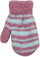 TICK TOCK Baby Girls Mittens Gloves Stripy Cold Fleece Warm Winter Thermal Cosy