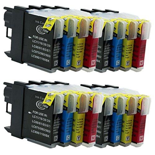 No-Name Kompatibel Ersatz 16Pack 4Set lc-11lc-16lc-38lc-61lc-65Tintenpatronen für Brother DCP6690CN DCP6690CW dcpj515N dcpj715N DCPj125Inkjet Drucker (4Schwarz, 4Cyan, 4Magenta, 4Gelb) - Tintenpatronen Brother Lc61