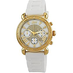 "Just Bling Damen JB-6242-E ""Victory Sport Gold White"" Designer Silikon Diamond Watch"