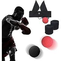 Bola de boxeo Reflejo, Fight Ball Diadema + Elástico Cuerda + Vendas Boxeo, Entrenamiento de Boxeo gimnasio equipo Punch Deporte Ejercicio Fitness, Training mejorar las reacciones y velocidad, Aplicar a Adulto Niños Gimnasio MMA (Rojo y negro)