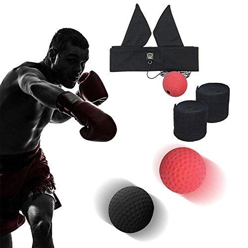 Boxen Training Ball, 2 Arten Reflex Kampf Ball + Profi Boxbandagen - (Reaktionsgeschwindigkeit Erhöhen/ Dekompression) - Tragbarer Fitnessübungen Ausrüstung- für Zuhause/ Outdoor (Erwachsene/ Kinder) MMA Training