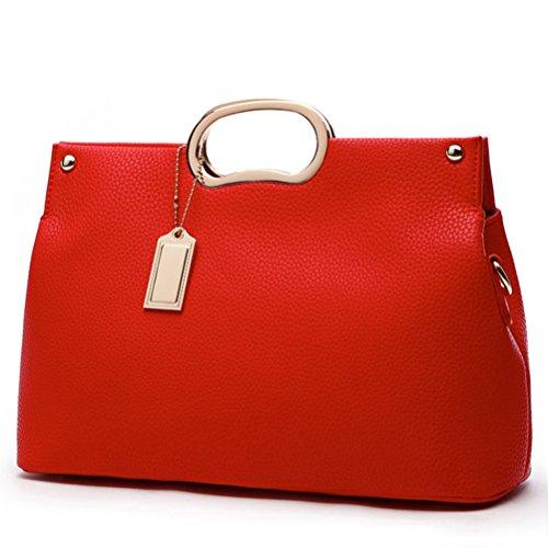 Honeymall Borse Donna, borse a mano donna in Pu Pelle Semplice Grande Capacità Nero Rosa