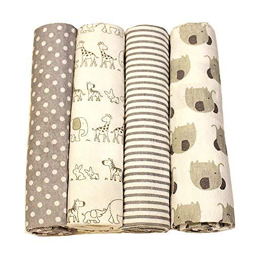 Harson&Jane les empreintes de qualité supérieure 100% coton, doux et confortable layette boîte de 4 30 × 30 pouces (76×76 cm, 12)