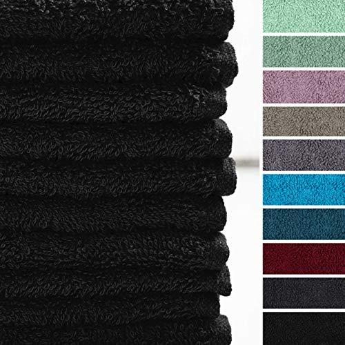 Lumaland Premium 10er Set Seiftücher Handtücher Frottee 30 x 30 cm aus 100{3d1f0a6e03a949eeb4d368819fd899d94a4c201e2bd1d1adee93924cb1ff484e} Baumwolle 420 g/m² mit Aufhänger schwarz