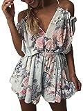 Walant Damen Sommer Blumen Kurz Jumpsuit Overall V-Ausschnitt Playsuit Strandkleider Minikleider