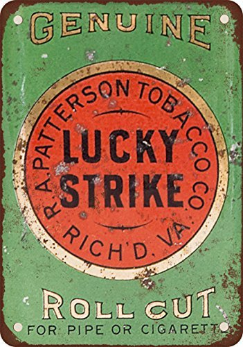 Lucky Strike tubo e sigaretta roll Cut tabacco vintage look Reproduction metal Tin Sign 20,3x 30,5cm