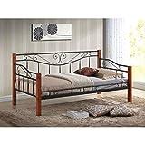 JUSThome Kenia Bett Metallbett Tagesbett Schwarz Kirsche 97x100x212 cm