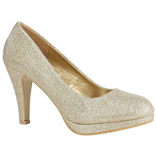 Damen Schuhe Pumps Plateau Pumps High Heels Lack Stiletto Elegante 156029 Gold Autol 37 Flandell