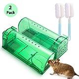 FORMIZON 2Pcs Trampa para Ratas, Ratas Ratonera de Plástico Reutilizable para Cocina, Jardín, Hogar, Cocina, Ático, Garaje Ratonera de Plástico de Color Verde
