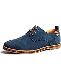 Bonways Zapatos de Cuero Casual Oxford Zapatos de Vestir Hombre Negro Azules