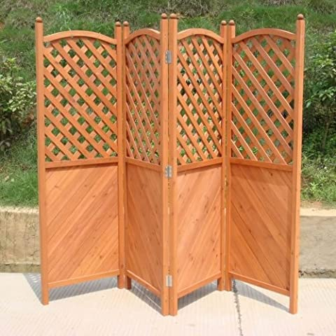 Trueshopping Patio Garden Screen Four Panel attractive Wooden Half Latticed Privacy Screen Cover Height 1.8 m x 2.4 m length