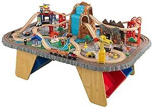 KidKraft 17498 Circuito de tren de juguete y tablero de madera para niños Waterfall Junction con almacenaje y 112 piezas de juego incluidas