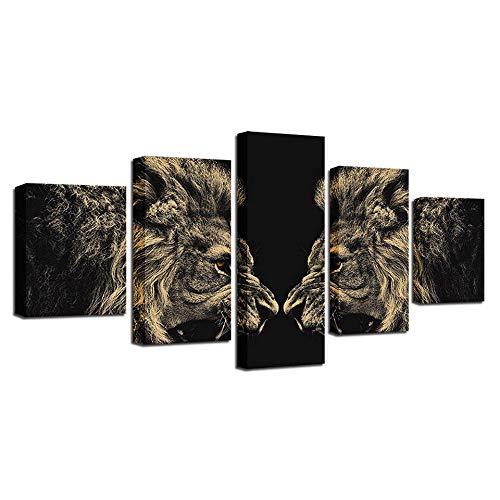 OHHCO Leinwanddrucke Wohnkultur Wandkunst Leinwand Bild Für Wohnzimmer 5 Roaring Lion Spiegel Malerei Modul Hd Print Animal Poster
