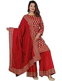 KANSHI Women's Rayon Solid Printed Kurta Sarara Palazzo and Dupatta Set |Three Fourth Sleeve Knee Length Used as Casual Wear & Office Dress