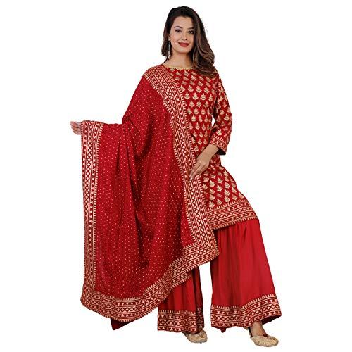 Kanshi Women's Rayon Solid Printed Kurta Sarara Palazzo and Dupatta Set  Three Fourth Sleeve Knee Length Used as Casual Wear & Office Dress - Red - XX-Large