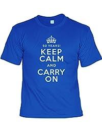 sabuy T-Shirt - 50 Years - Keep Calm and Carry On - Lustiges Sprüche Shirt Als Geschenk Zum 50. Geburtstag für Leute mit Humor