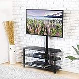 FITUEYES TV Standfuß TV Ständer TV Bodenständer TV Rack HiFi Regal Audio Schrank mit TV Halterung für 32'- 55' LED LCD TW307501MB