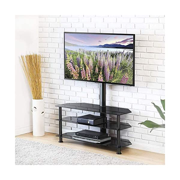 2b4cff324608dd FITUEYES Meuble TV avec Support Télé Cantilever Pivotant et Réglable ...