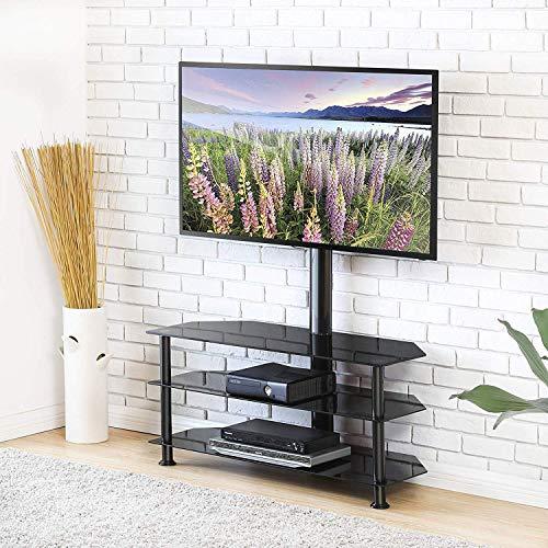 FITUEYES TV Standfuß TV Ständer TV Bodenständer TV Rack HiFi Regal Audio Schrank mit TV Halterung für 32