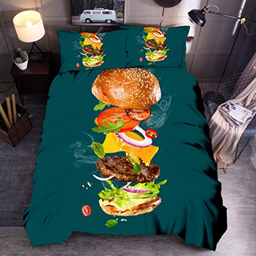 Anmou Bettbezug Set Neuartige Innovation 100% Mikrofaser Hamburger Print Bettwäsche Quilt Tröster Bettbezug Set mit Pillow Shams,Grün,Königin:228X228Cm -