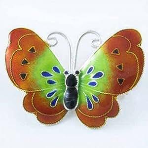 Broche papillon en argent sterling d'émail vert et marron