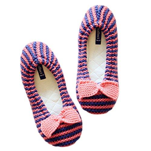 Fortuning's JDS Delle ragazze delle donne del maglieria delle signore Accogliente Casa Calzature fiocco rosa Stripe confortevole avvolgere Flatform pantofole Rosso