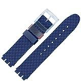 MARBURGER Uhrenarmband 18mm Kunststoff Blau Swatch Spezialanstoss - Uhrband 9641870100520
