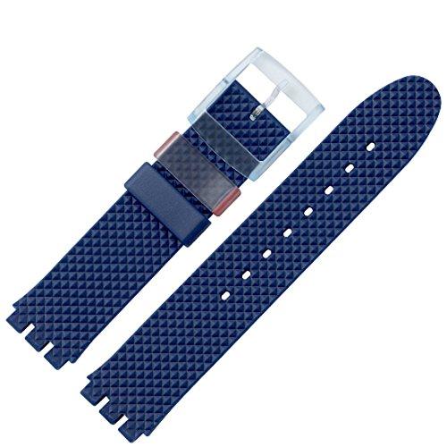 MARBURGER Uhrenarmband 18mm Kunststoff Blau Swatch Spezialanstoss - 9641870100520 -