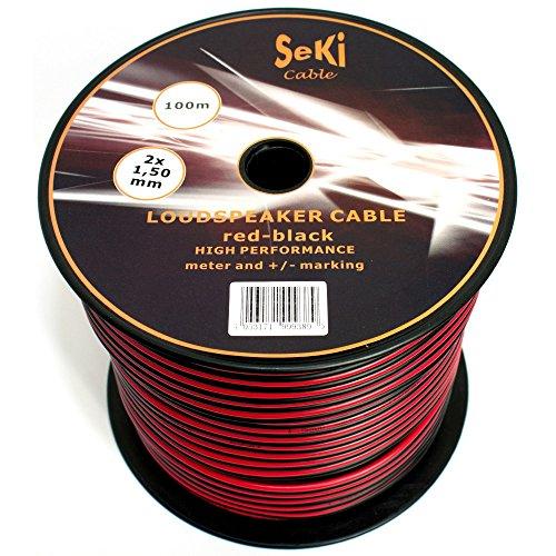 Lautsprecherkabel 2x1,50mm2 - 100m - rot-schwarz - CCA - Audiokabel - Boxenkabel