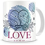 Printhaat Love Birds On A Branch Of A Tree Coffee Mug Gift :: Two Love Birds On The Branch Of A Tree :: Love Is In The Air Coffee Mug Gift :: Designed With Love Especially For Valentines Day To Express Your Love For Somebody :: A Sweet Gift For Your Girlf