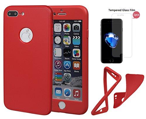 """xhorizon TM Stoßfeste weiche Schutzhülle aus 360 Grad ultradünner und zweischichtiger TPU für volle Deckung für iPhone 7 Plus (5.5"""") mit einem 9H Ausgeglichen Glas Film Rote + 9H Tempered Glass Film"""