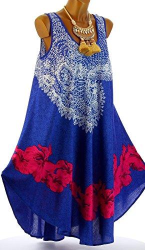 ... Charleselie94 - Kleid sommer asymmetrisch boheme große größe BLAU  AUDELIA blau Blau ...