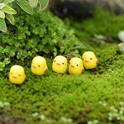 Happysea 10* gelbes Küken Mirco Landschaft moos Mini Ornament deko aus Harz für Miniatur Garten DIY 11*11mm -