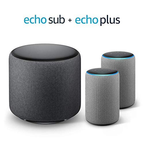 Echo Plus Stereo-System - 2 Echo Plus-Geräte (2. Gen.), Hellgrau Stoff + 1 Echo Sub