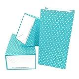 Frau WunderVoll 60 Stueck Papiertüten mit Boden, Blockbodenbeutel, 12x7x24cm, beachblau, weiße große Punkte
