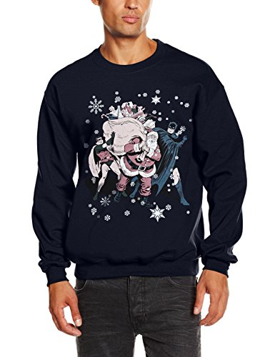 DC Comic Christmas Batman & Robin Santa Claus-Sudadera Hombre, Azul M