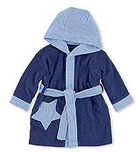 Sterntaler Peignoir à capuche Stanley, Âge : 6-9 Mois, Taille: 74/80, Bleu